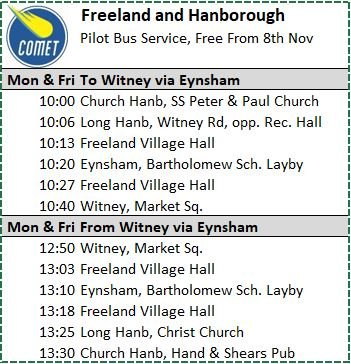 Freeland and Hanborough Pilot Bus Service, FREE from 8 November