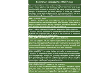 Summary Neighbourhood Plan Policies 01-05